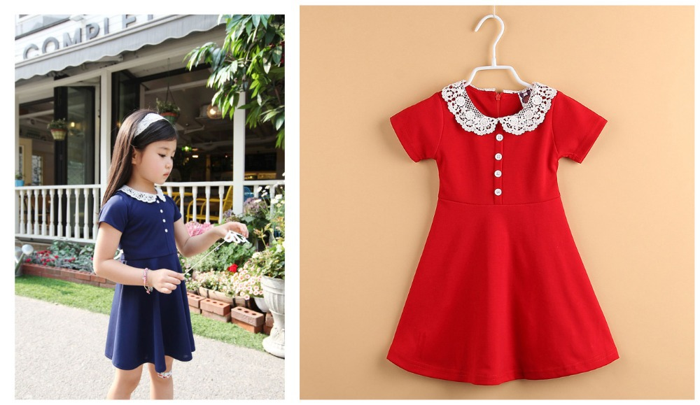 2014 girls summer party dress 100% cotton baby children draped A-line princess dresses solid fashion fairy dressAHG1423 - kids clothes on line store
