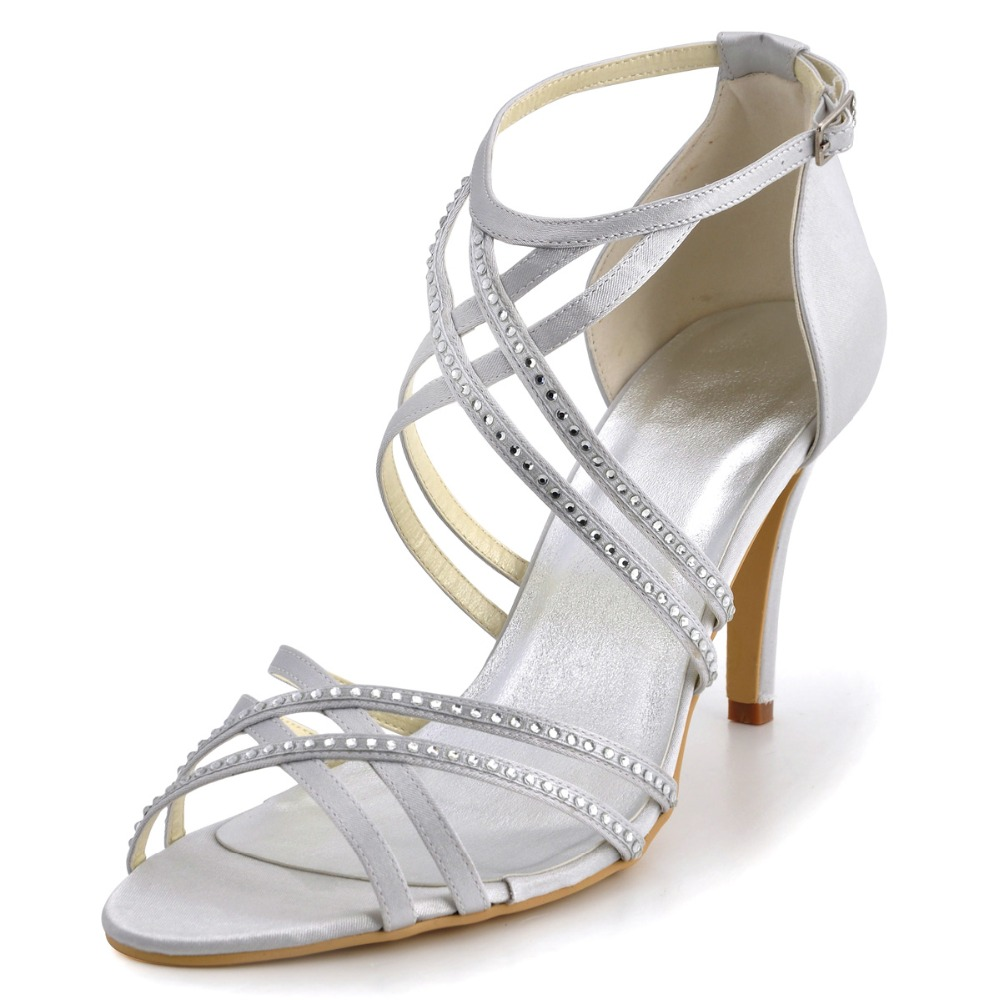 Big Sale EP11062-US Silver Women Bridal Peep Toe Evening Party Shoes Rhinestones Ankle Strap Buckles Satin Wedding Sandals(China (Mainland))