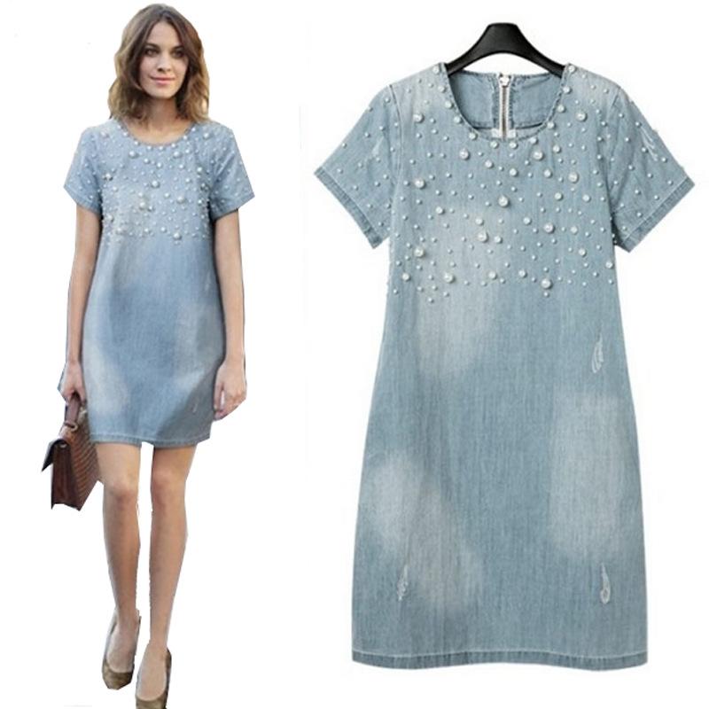2015 Women Denim Dress Short-Sleeved Loose Beaded Jeans dress Pearl Vestidos Plus Size 5XL LL019(China (Mainland))