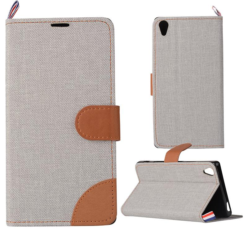 2016High Quality Canvas+TPU Wallet Case Flip Cover For Sony Xperia Z5 Premium 5.5 Inch Phone Protection Case 5 Colors For Choice(China (Mainland))
