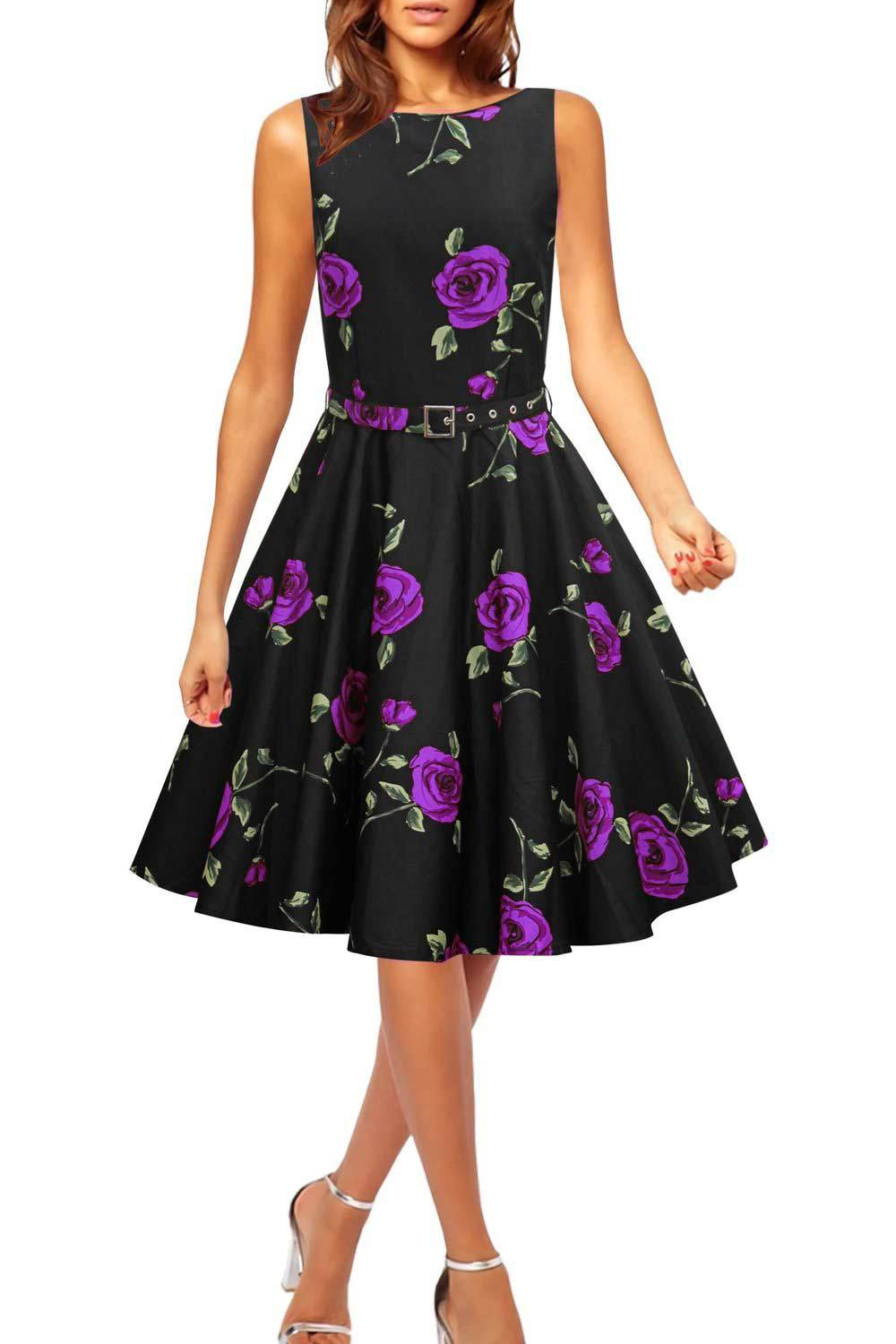 2016 Womens Pin Up 1950s Style Turn Down Floral Print ...