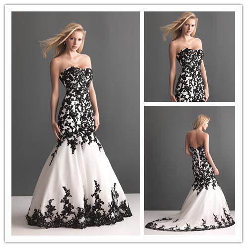 Discount unique design black and white wedding dresses for Unique black and white wedding dresses