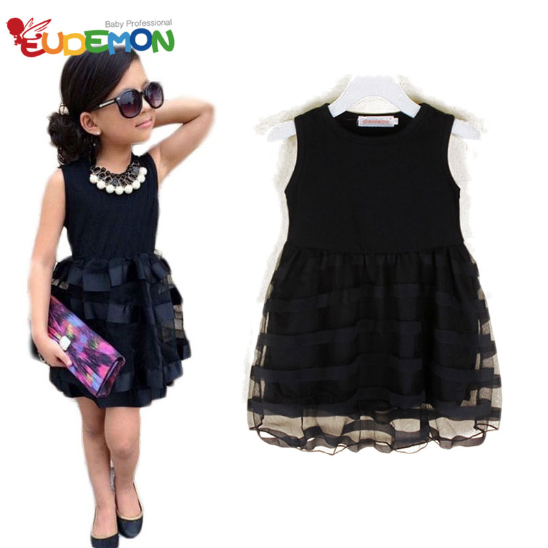 [Eudemon] Fashion Girls Dresses Black Mesh Formal Girls Clothes Lace Sweet Ball Gown Girl Party Dresses 2016 Children Dress(China (Mainland))