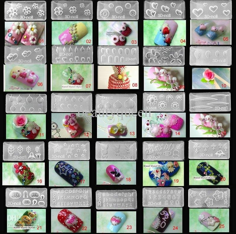 Tool psp picture more detailed picture about 15 pcs lot for 3d acrylic nail art mold diy decoration
