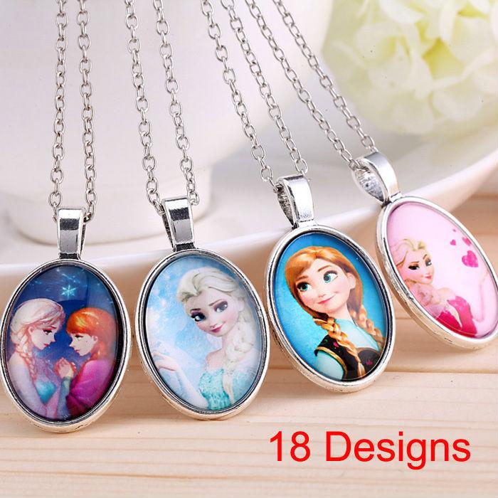 2014 New fashion vintage Frozen cartoon Anna Elsa pendants long chain necklace jewelry gift for women