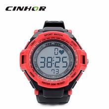 Digital del ritmo cardíaco reloj con cinturón de pecho elástica – negro + rojo