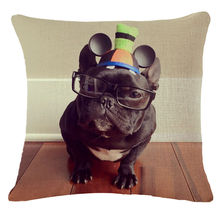Cute Hat Wear French Bulldog Cushion Cover