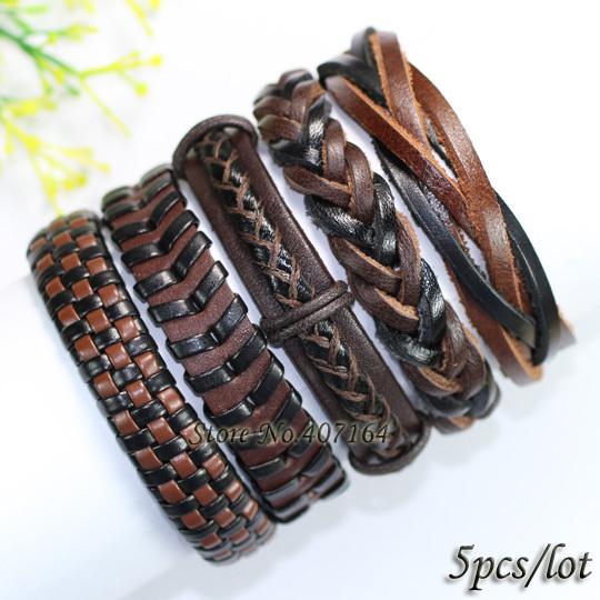 FL87- () black&brown bangles gift, tribal ethnic handmade braided wrap leather bracelet women&men - SunFlower Trade Co.,Ltd store