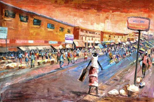 Accra Market African Fine Art Orig Painting By Handmade Oil Paintings Canvas Art Picture For Living Room Study Art Abstract On(China (Mainland))