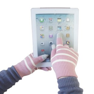 T17 1 Pair of Womens / Kids 5colors Purple pink violet red brown Striped Touch Screen Gloves Works With Iphones etc(China (Mainland))