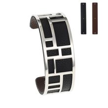 Cremo Bracelets & Bangles Stainless Steel Bracelet Bijoux Femme Manchette Reversible Leather Cuff Pulseiras(China)