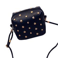 2015 Fashion Women CrossBody Bag High Quality Designer Rivet Pu Leather Ladies Flap Shoulder bag Black