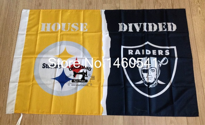 Pittsburgh Steelers Oakland Raiders House Divided Flag 3ft x 5ft Polyester NCAA Banner Flying Size No.4 144* 96cm QingQing Flag(China (Mainland))