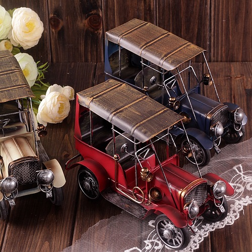 Zakka Grocery Hand-made Old Vintage Cars Cast Iron Toy Cars Ford Antique Cars Models For Decoration Tin Car Toys(China (Mainland))