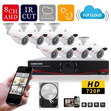 SUNCHAN HD 1.0MP 1200TVL Surveillance CCTV System 8CH AHD CCTV DVR 960H CMOS IR Cameras Security System with IR CUT 1TB HDD