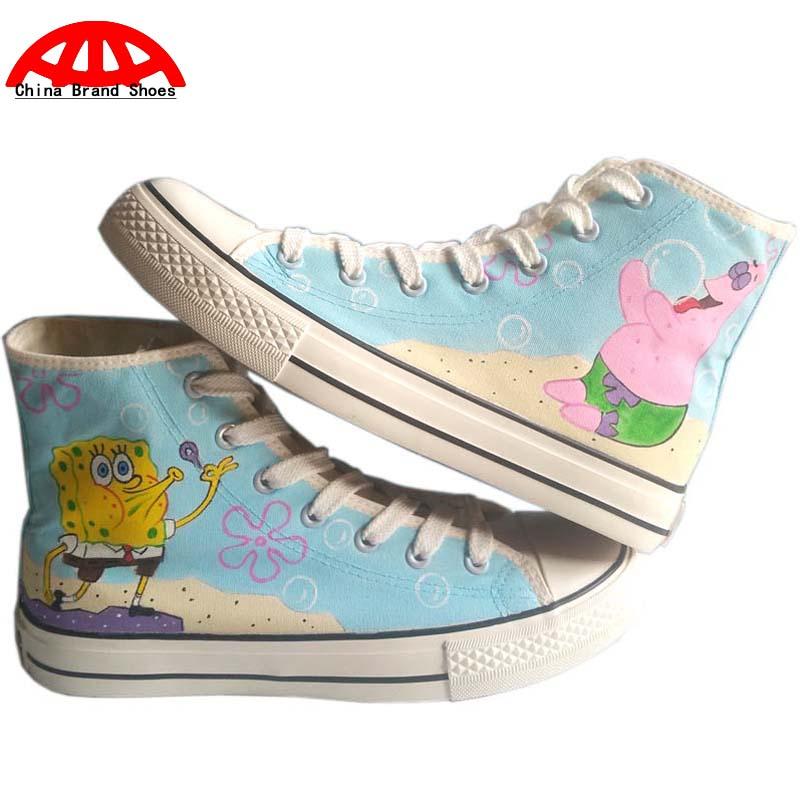 China Brand Shoes Anime Spongebob Adventure Time Children Hand Painted Shoes Flats Simpson Boys Girls Graffiti Shoe Cool Boots(China (Mainland))