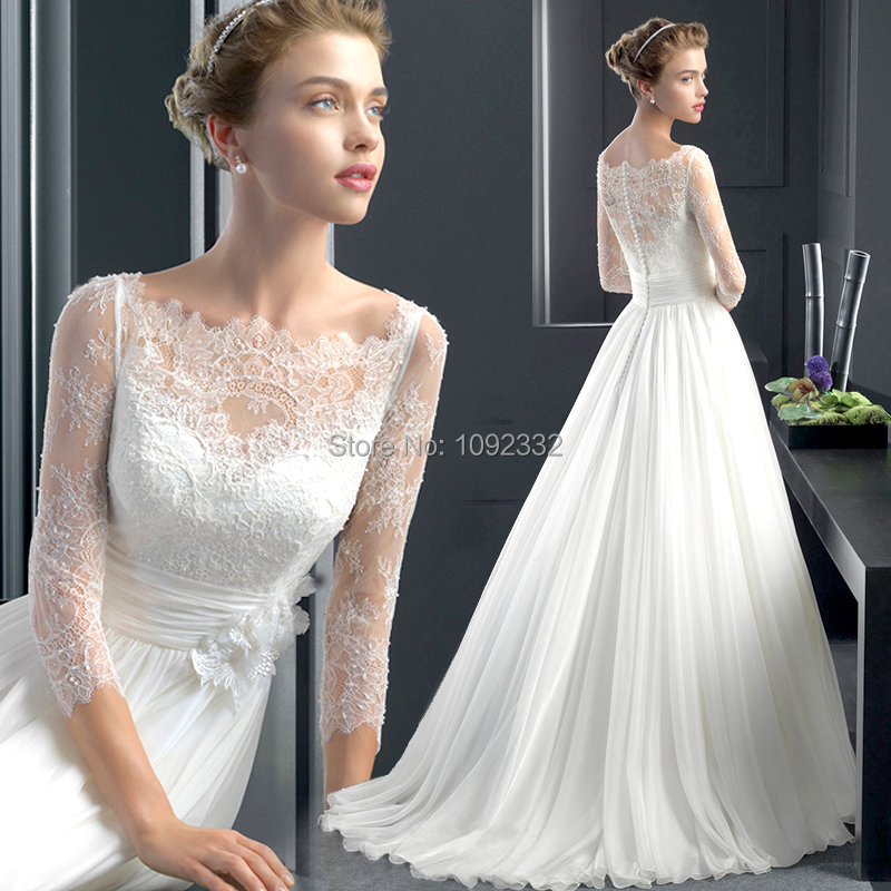 z 2015 New stock bridal gown plus size women pregnant wedding dress small tail one word shoulder lace A-line long sleeve 8899(China (Mainland))