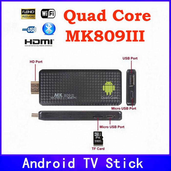 Android 4.2.2 mini PC Quad core RK3188 Google TV Box MK809III 2GB RAM 8GB ROM Bluetooth Wifi HDMI MK809 III MK802 IV - NewKodi store