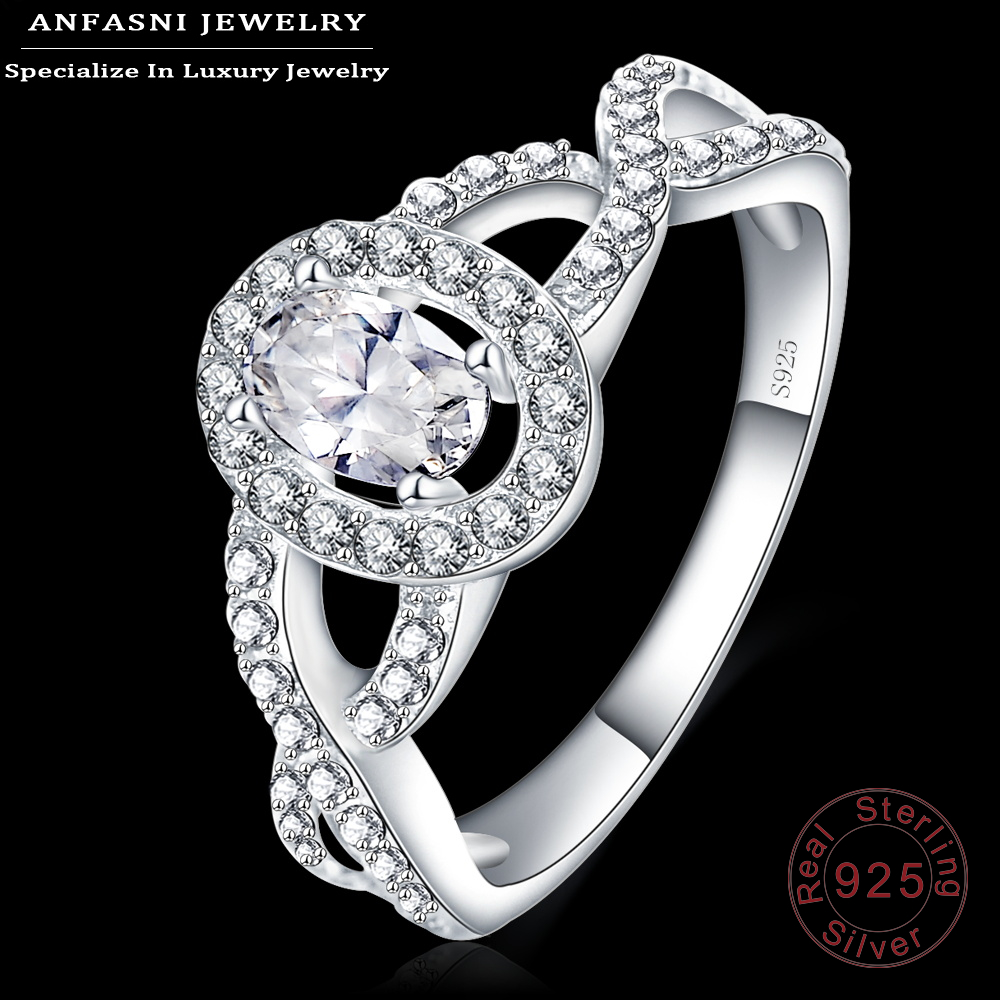 ANFASNI High Quality Wedding Rings 100% 925 Sterling Silver Ring Oval Shape CZ Jewelry Aneis Delicado Bijoux SRI0014-B(China (Mainland))