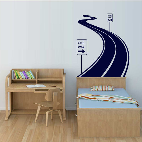 Wall Decal Road Track Car Band Traffic Sign Nursery Kids Gift free shipping(China (Mainland))