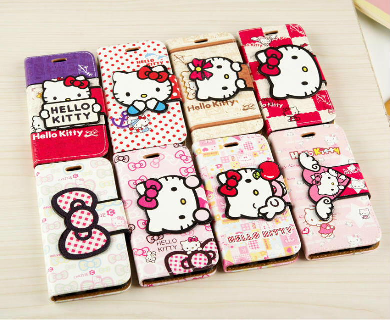 Luxury PU Leather Wallet hello kitty Stand Case 4.7inch 5.5inch iPhone 6 6plus Phone Bag Card Holder Flip Cover - SZ store