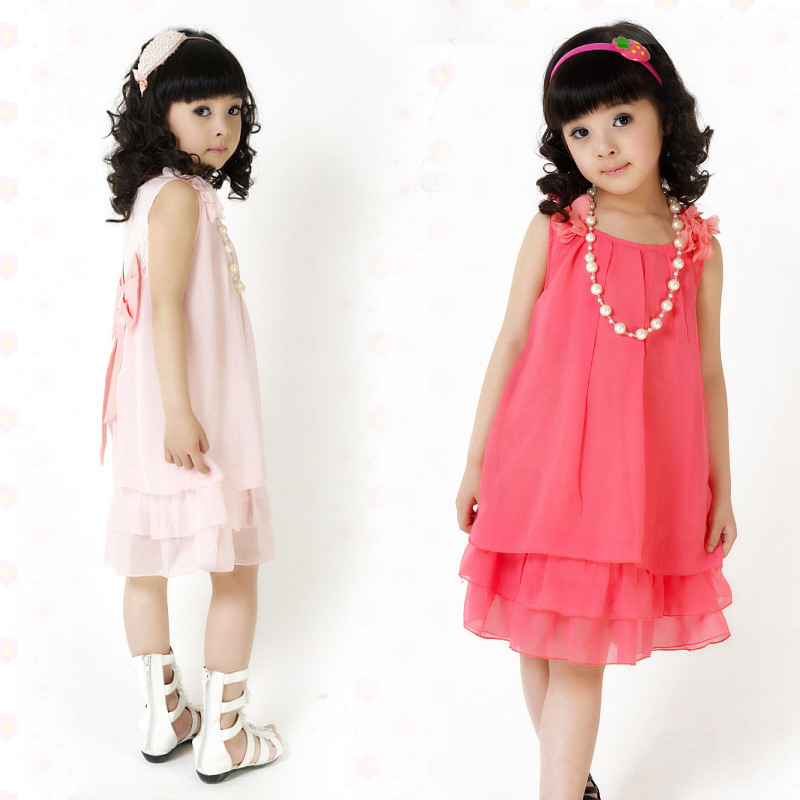 Free Shipping 2014 Summer Chiffon Lace Children's Dresses Lovely Bow Casual Sleeveless kids dress Girl Dress(China (Mainland))