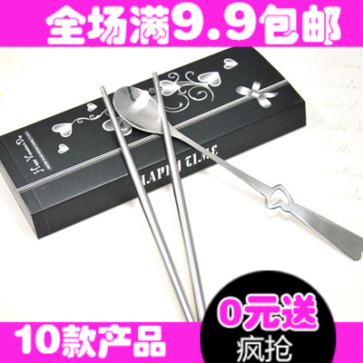 Free Shipping 10 Pcs/Lot A1200 lovers tableware cutout heart long handle fork spoon set lovers dinnerware set