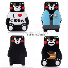 2015 The Newest Japan 3D cartoon animals Bear soft silicone case with card For iphone6 4.7inch