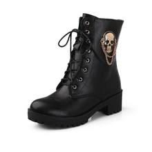 Morazora 2019 Bán Mắt Cá Chân Giày Cho Nữ Đầu Lâu Đường Phối Ren Nền Tảng Giày Bốt Nữ Thời Trang Nữ Thu Đông giày Giày(China)