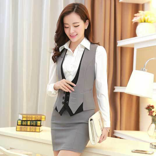 Summer gray work uniform vests 2015 new office uniform for Office uniform design 2015