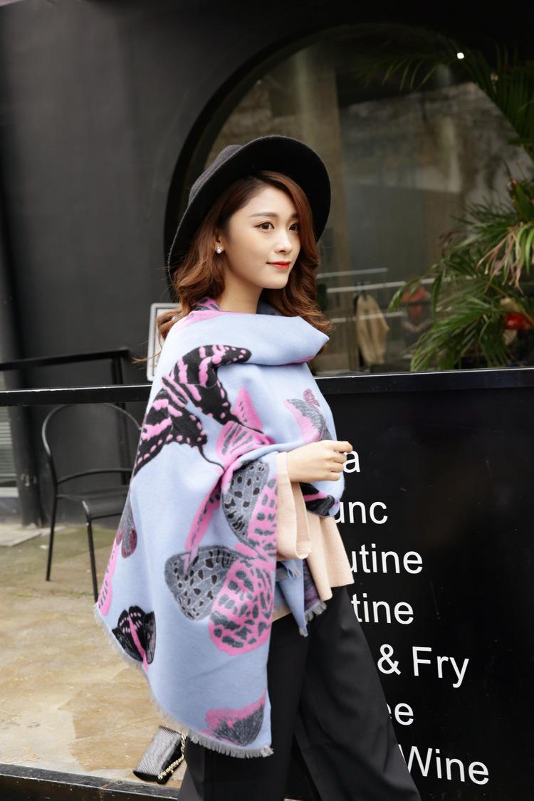 2016 New Wool Women Girls Winter butterfly Knit Femal Scarf Shawls Wrap Blanket Thickening Warm Scarves Neckerchief  20013