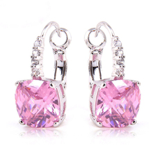 Wholesale Stunning Fashion Irregularity Cut Pink & White Sapphire  Dangle Hook Silver Earring Free Shipping(China (Mainland))