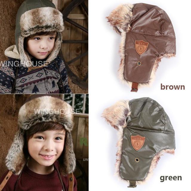 В розницу 2014 ребенок зимняя шапка водонепроницаемый малыш зима теплая шапка Earflap русский охотник шапка детские шляпа прямая поставка
