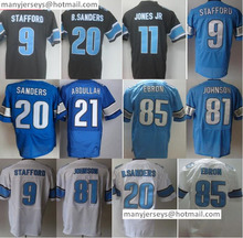 Hot Sale Men's 9 Matthew Stafford 20 Barry Sanders 81 Johnson 85 Eric Ebron 21 Ameer Abdullahs Black Blue White Products(China (Mainland))