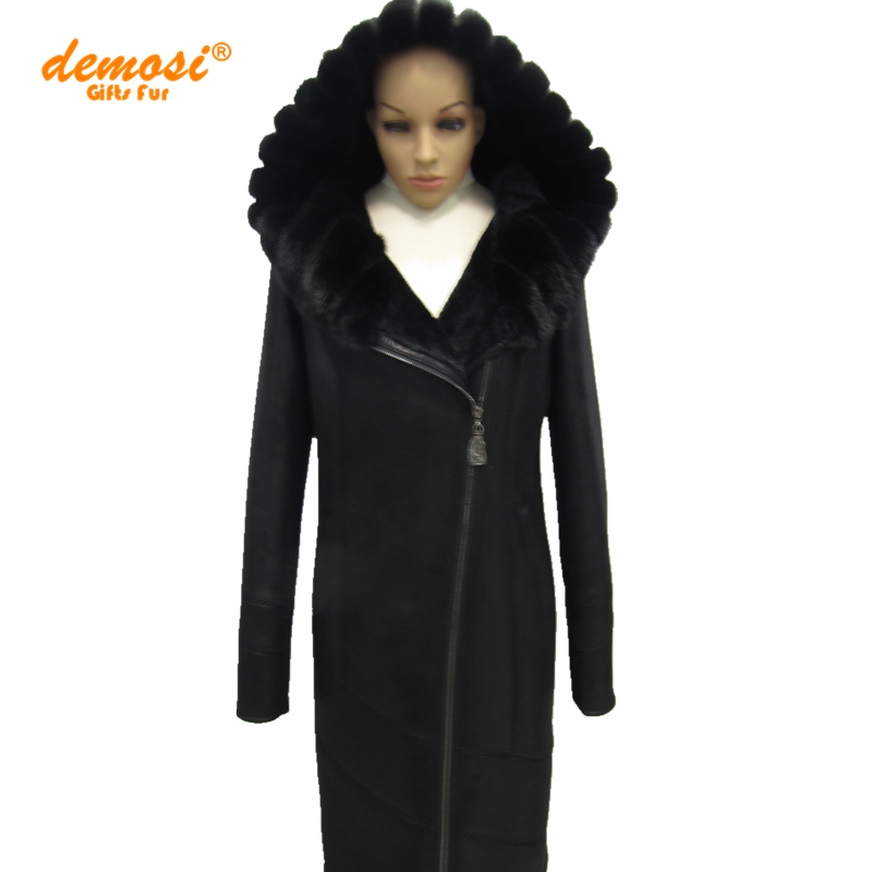 Factory wholesale 100% natural leather mink fur collar fashion Slim suede sheepskin 2015 new women thick winter Middle-aged Coat(China (Mainland))