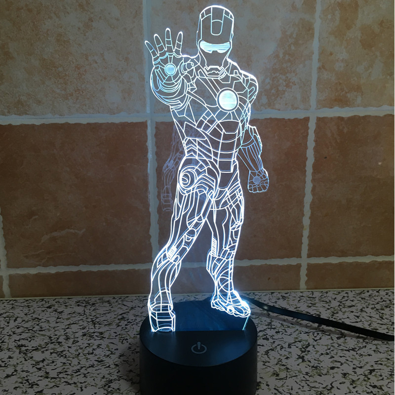3D illusion Iron Man Acrylic LED Night Light Colorful Gradient Atmosphere Lamp USB Children Bedroom Table Lamp(China (Mainland))