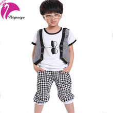 Cool Summer 2016 Boy Sets Fashion Design Pattern Casual Cotton 2 Pieces Striped Sport T-Shirts Pants Kids Clothes Tracksuit(China (Mainland))