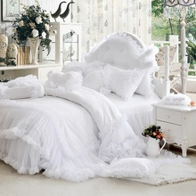 Luxury white falbala ruffle lace bedding set, twin queen king size bedding for girl, princess duvet cover set bedspread bedskirt(China (Mainland))