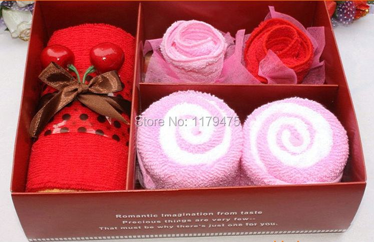 1 Set Creative New Cotton Blend Cherry Lover Towel Lovely Cake Towel Gift Box Wedding Christmas Presents Gifts Favors Home Decor(China (Mainland))
