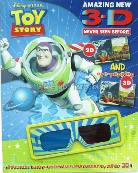 Free Shipping Colorful Story Books libros Learning Educational Toys Brinquedos Christmas Gift 3D Comic Book Includes 3D Glasses(China (Mainland))