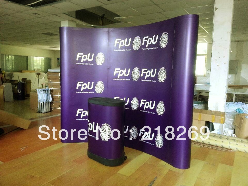 3X3(8X8ft) Custom printing Magnetic Arc Pop up Stand Banner with plastic Trolley Case Table, Backdrop display banner(China (Mainland))