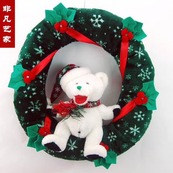 Acoustic pronunciation LED Christmas bear wreath ornaments Christmas decorations Christmas gift(China (Mainland))