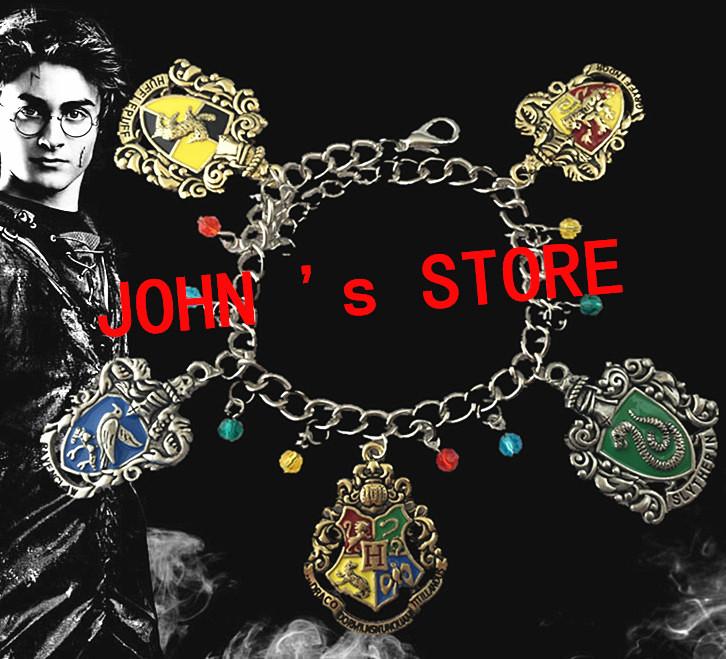 Freeshipping 20pc a lot HOGWARTS Gryffindor Slytherin Ravenclaw School Crest charm bracelet MSYTL03<br><br>Aliexpress