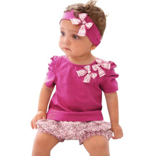 2016 Summer Cute Baby Clothes Sets Toddler Infant Girls Flower Headband T shirt Tops Floral Printed