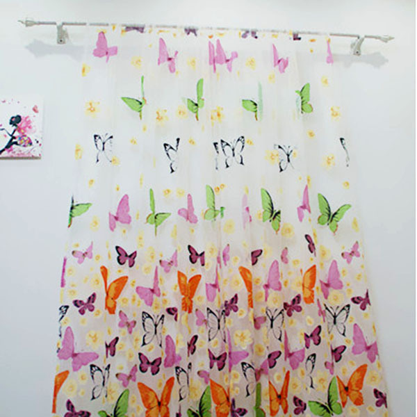 Striking Butterfly Tulle Window Screens Door Balcony Curtain Panel Sheer Scarfs(China (Mainland))