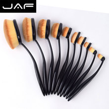 JAF Brand 10pcs Oval Makeup Brush Set of Toothbrush Shape Oval Brushes Professional for Face Eye Lip Makeup JF1004-OPP