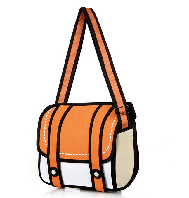 2015 New Fashion 2D Bags Novelty Back To School Bag 3D Drawing Cartoon Comic Handbag Lady Shoulder Bag Messenger 6 Color Gift(China (Mainland))