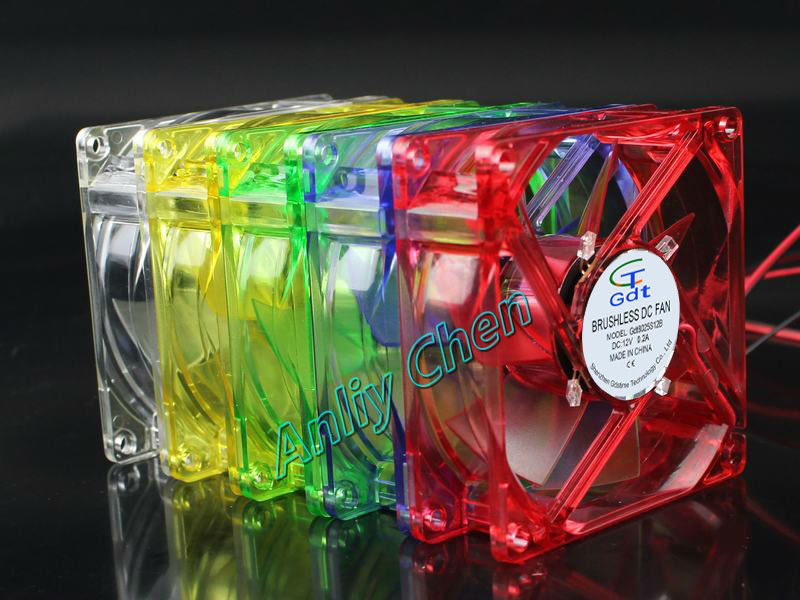 5 Pieces LOT 5 Colors 80mm 80 x 80 x 25mm 8cm DC 12V 4Pin Cooler LED Cooling Fan(China (Mainland))
