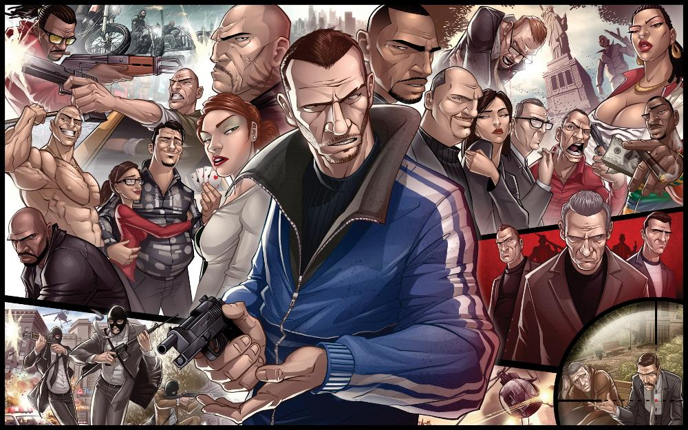 Living room home wall decoration fabric poster Gta 4 characters(China (Mainland))