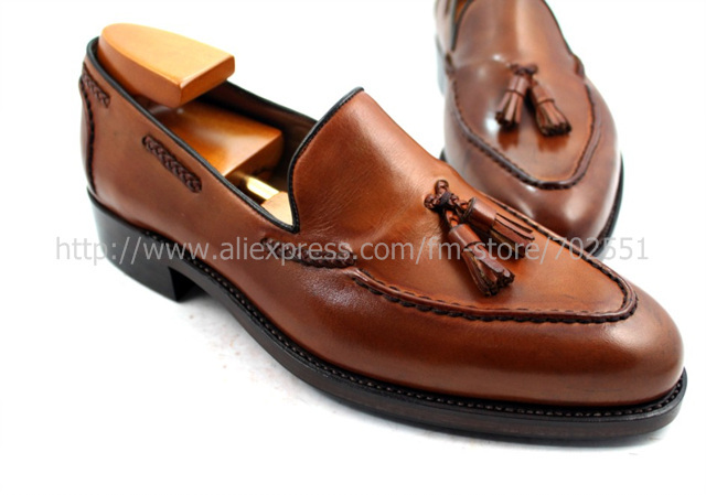 EMS Free shipping to avoid the customs tax goodyear welt handmade men's leather color brown Goodyear craft shoe No.Loafer 32(China (Mainland))
